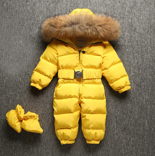 все цены на Children's down jumpsuit baby out dress boy and girl climb real fur collar Send shoes