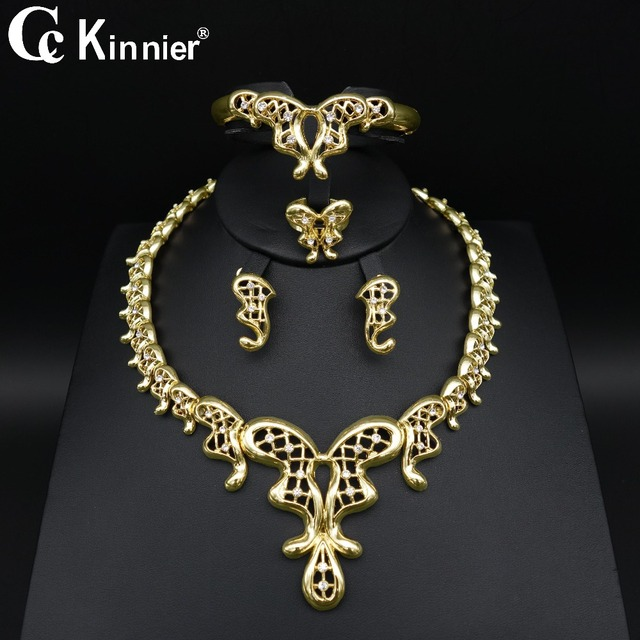 Dubai gold-color Unique design wedding jewelry set Bridal African bead Exaggerated classics women Necklace Bangle Earring Ring