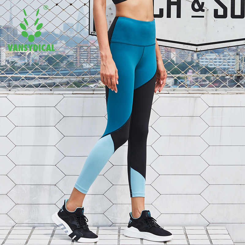 Vansydical Women Skinny Yoga Pants Compression Running Tights Gym Stretchy Pants Fitness Workout Sports Leggings Spliced Colors