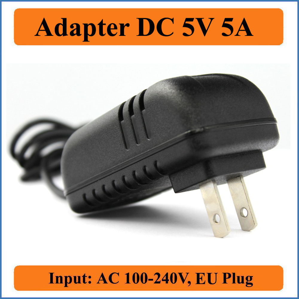 5V 5A US Plug AC DC Adapter AC100-240V to DC 5V 5000mA Output Wall Chargers DC Adapter 1M (3ft) Length 5.5mm x 2.1-2.5 mm jack зарядное устройство для mp3 mp4 плеера brand new ac100 240v usb ac dc 5v wifi cha 029
