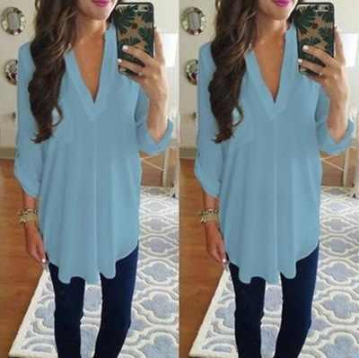 2018ホットシフォンシャツ長袖vネックトップ大サイズトップホワイト女性ブランド服ブラウストップtシャツプラスサイズ5xl