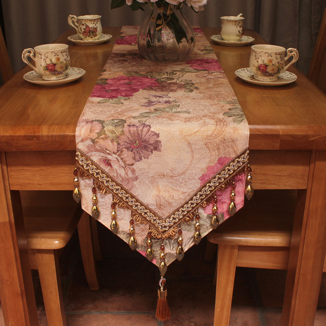 Superbe Vintage Elegant Table Runners European Style Peony Floral Jacquard Luxury Table  Runner 30x180cm For Table Decoration