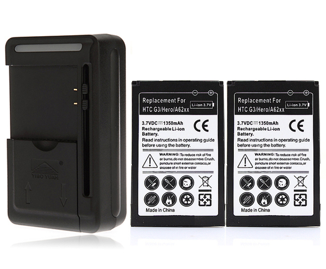 2x 1350mAh Battery +Charger For HTC Google G3 G4 Hero A6262 Hero 100 Tattoo TWIN160,T3333,T5353/T5388,T5399