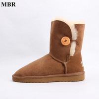 MBR Sheepskin Leather Short Suede Women Winter Snow Boots With Button Fur Lined Winter Shoes Brown