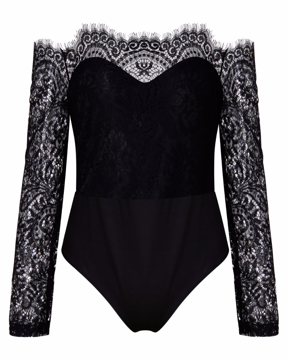 Autumn 2018 Women romper Slim Sexy off shoulder lace splicing bottom Long Sleeve Siamese womens shirt jumpsuit bodysuit female