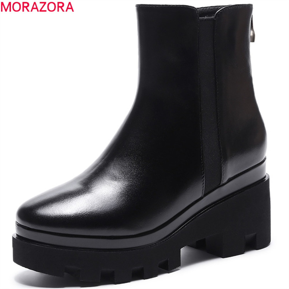 MORAZORA black fashion women boots square toe zipper square heel genuine leather boots platform cow leather ankle boots memunia fashion women boots round toe genuine leather boots zipper square heel wool keep warm cow leather mid calf boots