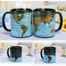 Free shipping The solar system ceramic color changing coffee mug Heat senstive magic tea cup mugs best gift for friends