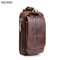 Genuine Cow Leather Mini Casual Bag Men's Waist Belt Bags Purses Wallet Case Cover Holder For Lenovo For Uhans Mobile Phone