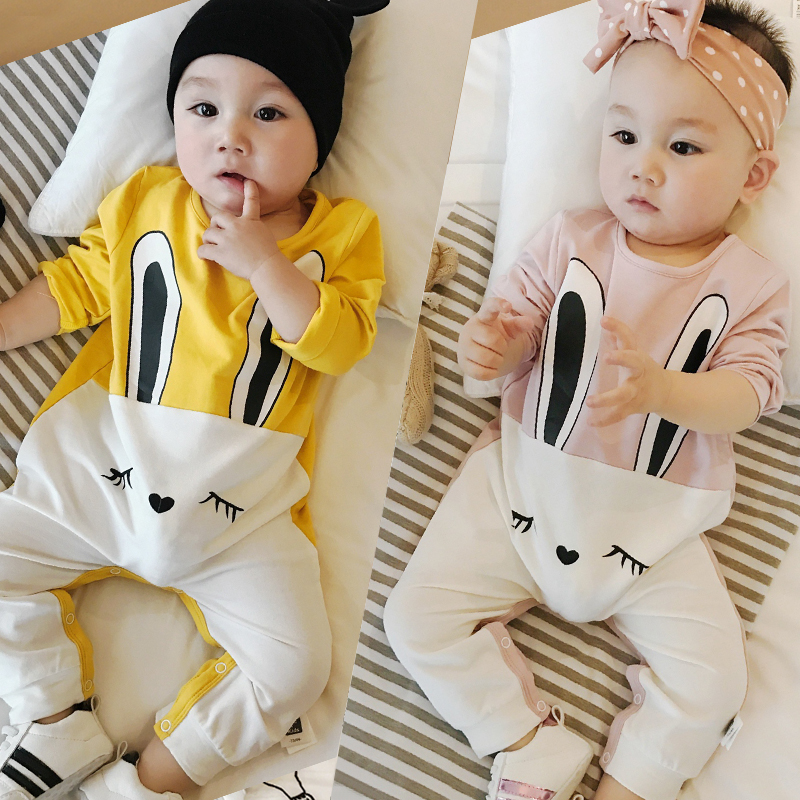 1 Baby Fall Rompers Cotton Full Pullover Rabbit Overalls Cartoon Cute Boys Girls Jumpsuits Infant Baby Sunsuits Children Clothes 0 12m autumn cotton baby rompers cute cartoon clothing set for baby boys infant girls clothes jumpsuits foot coveralls romper