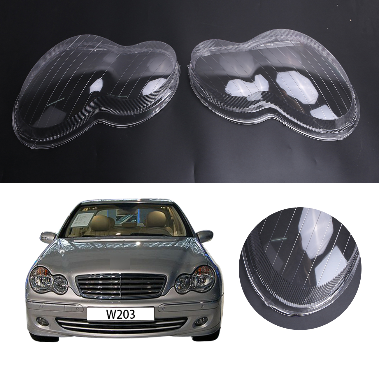 2x Transparent Housing Headlight Lens Shell Cover Lamp Assembly For Mercedes Benz W203 4-Door C230 C200 C240 2001-2007 #PD553 gt1238 708837 0001 1600960499 708837 turbocharger housing turbine housing for mercedes benz smart m160 0 6l