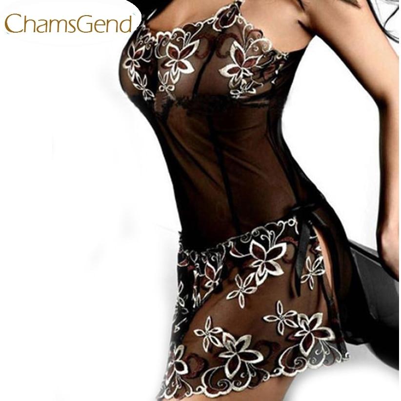 Chamsgend حديثا تصميم التطريز مثير سيدة طباعة منظور إغراء منامة النساء داخلية May6 إسقاط الشحن