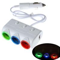 Auto 2 USB Cigarette 3 Way Car Lighter Socket Splitter Charger Power Adapter Dec06