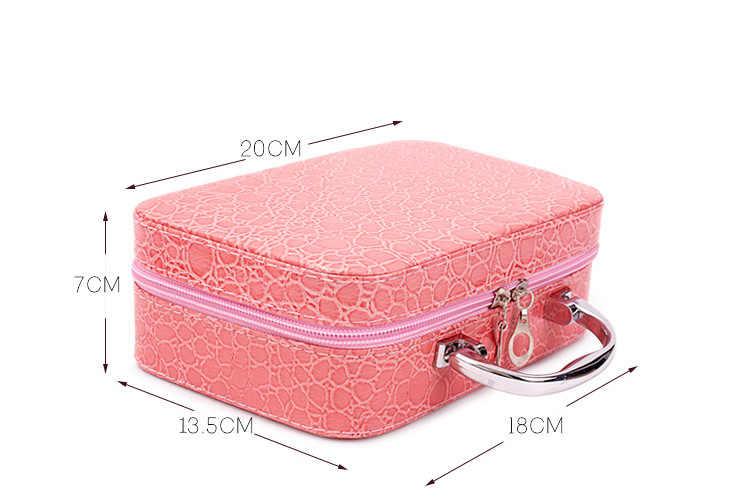 Caliente 2018 pequeños estuches cosméticos de cocodrilo Lindo bolso de maquillaje para mujer caja de cuero PU para maquillaje maleta bolso de cocodrilo