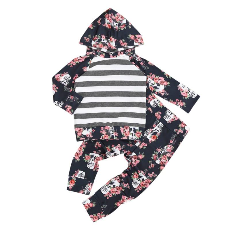 220d82238 Cool Newborn Baby Girls Boy Flower Hooded Tops Skull Floral Print Striped  Hoodies Sweatshirt Long Pants 2Pcs Outfits Clothes Set