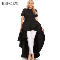 BEFORW High Quality Summer Round Neck Short Sleeve Dresses Flounce Irregular Long Dress Women S Clothing