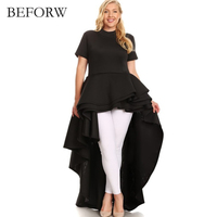 BEFORW High Quality Summer Round Neck Short Sleeve Dresses Flounce Irregular Long Dress Women S Clothing