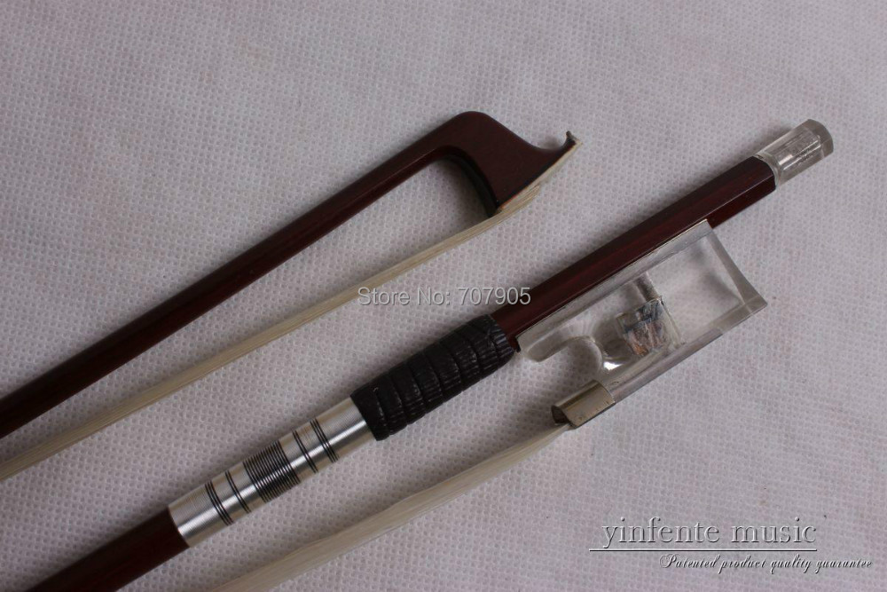 1  Violin Bow   High  quality Crystal  fro g 55 hanks white stallion violin bow hair 6 grams each hank in 32 inches