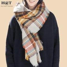 GS57 New Celeb Style Womens Beige Plaid Tartan Pattern Oversized Soft Blanket Scarf Wrap Winter Woolen