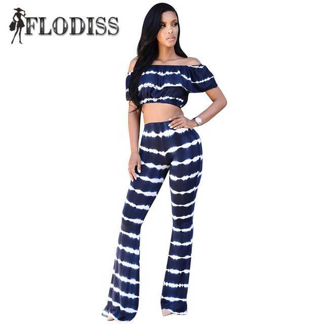 NEW 2016 Autumn 2 Pieces Set Women Sexy Night Club Striped Off Shoulder Ruffle Twinset Crop Tops and Pants Sets Tie Dye Jumpsuit