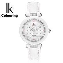 IK керамические кварцевые часы мода повседневная водонепроницаемые Женские Часы Ремешок студент стол женщина