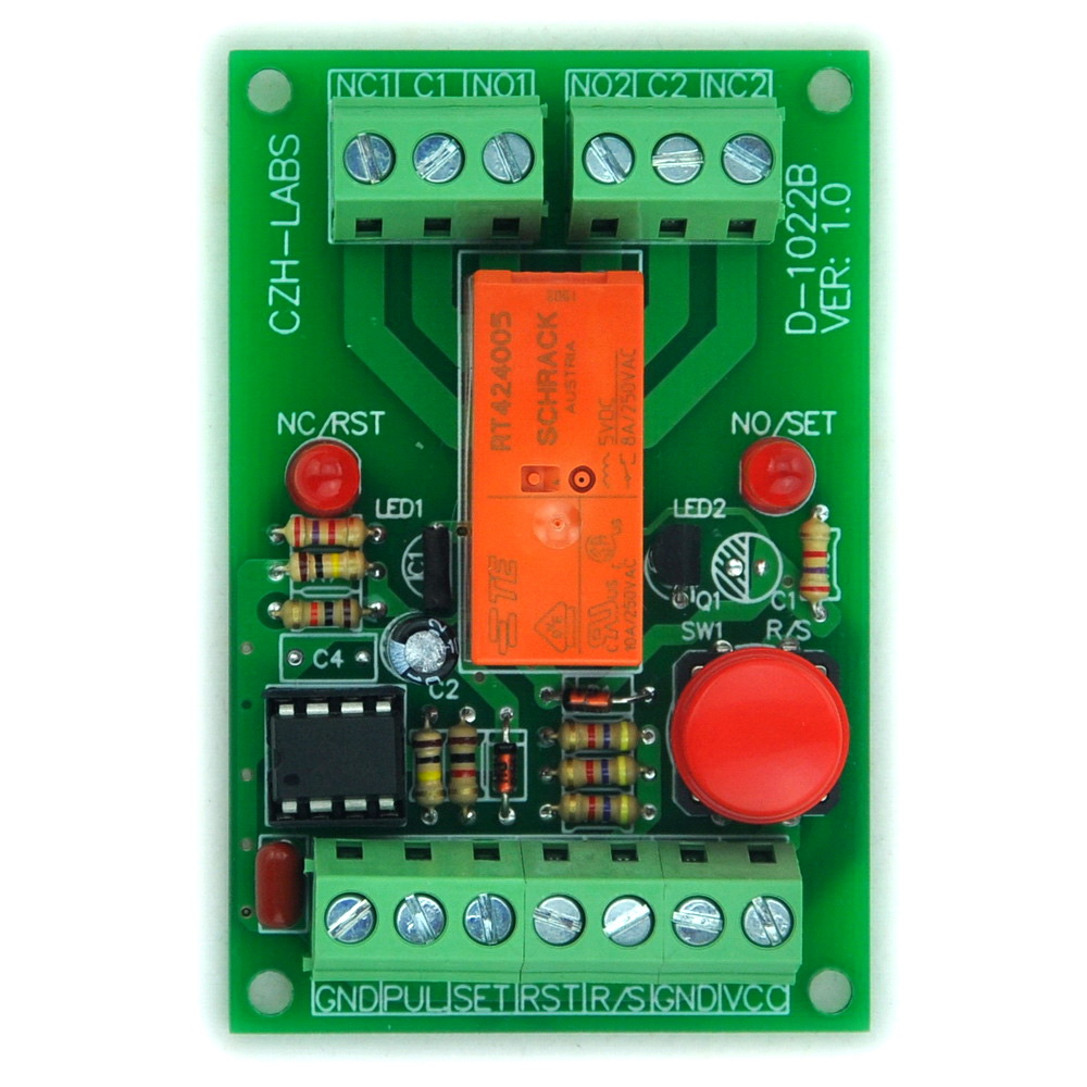 Panel Mount Momentary-Switch/Pulse-Signal Control Latching DPDT Relay Module,5V