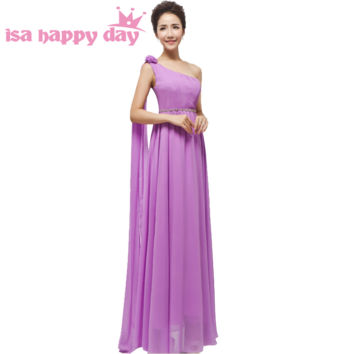 2018 new arrival women country plus size lilac one shoulder chiffon bridesmaid flower maid dress long for a wedding H1796