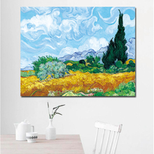 SELFLESSLY Wheat Field with Cypress Impression Van Gogh Oil Painting Reproduction on Canvas Oil Painting Wall Art
