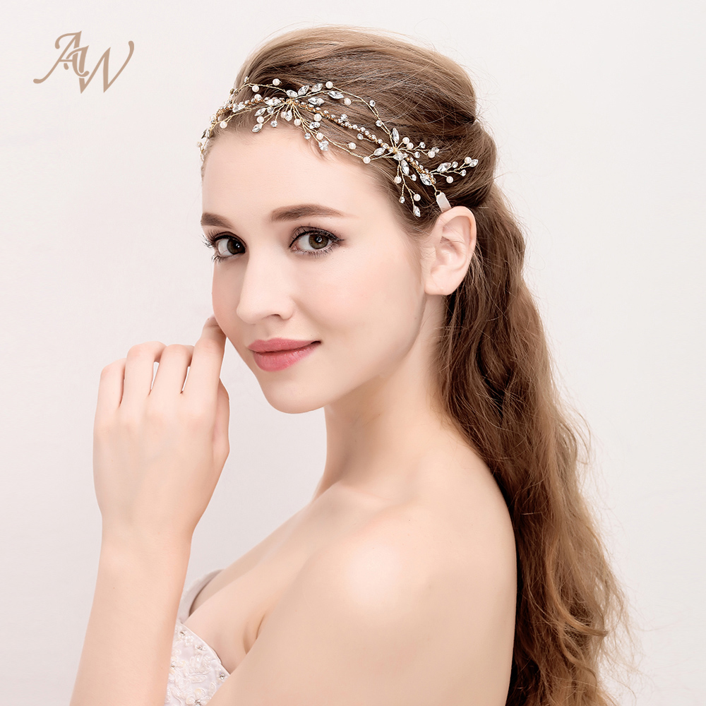 AW Crystal Bridal Hair Vine Ethereal Pearly Headband for Special Occasion Delicate Hair  ...