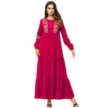 0730c1f99ec Для женщин вышивка Макси Платье Мусульманских Абаи Kimono Solid ...