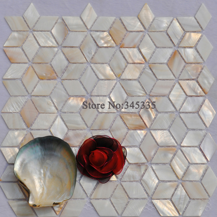 11PCS Rhombus Shell Mosaic Tile Natural Mother Of Pearl Tile Kitchen Shower  Bathroom Decorative Wall Backsplash