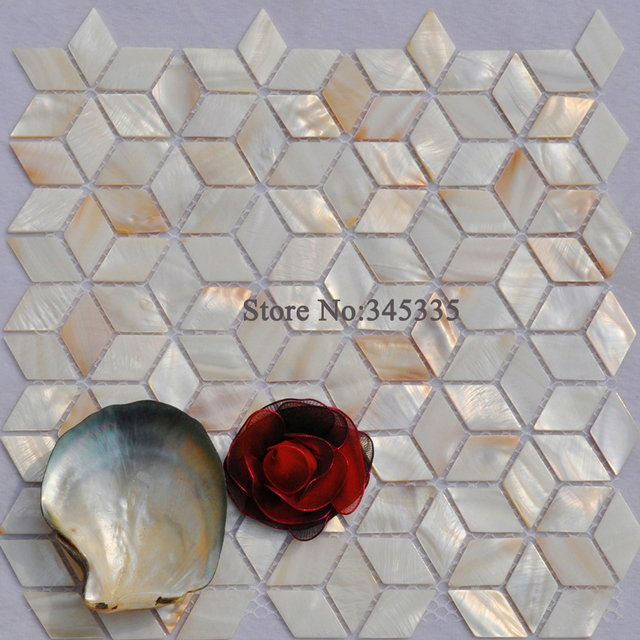 11pcs Rhombus Shell Mosaic Tile Natural Mother Of Pearl Kitchen Shower Bathroom Decorative Wall Backsplash