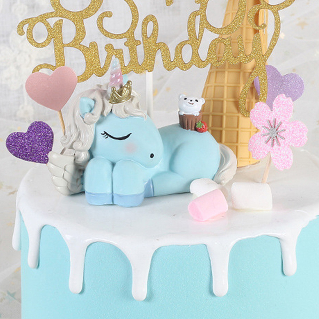 Sweet Sleepy Unicorn Cake Topper