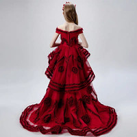2019 Высокое качество для девочек аппликации цветы Вечеринка Первое причастие Пышное Платье Одежда детская праздничная одежда
