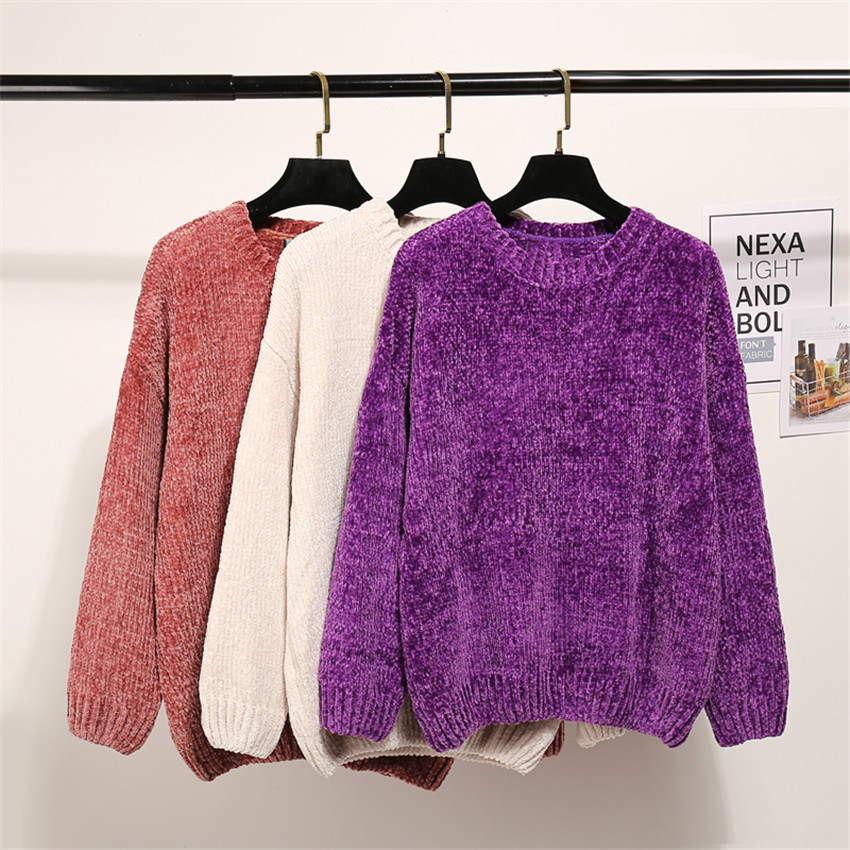 6 Colors Winter Warm Overszed Sweater Women Knitted Sweaters Velvet Chenille Pullovers Jumper Ladies Casual loose Pull Femme