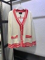 Высокое качество 100% кашемир 2019 Весна модное винтажное женское пальто с v образным вырезом с длинным рукавом открытая стежка повседневная ку