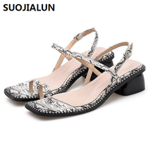 Women Summer Sandals Snake Skin Peep Toe Med Heels Slides Shoes Platform Party Square Heel Dress