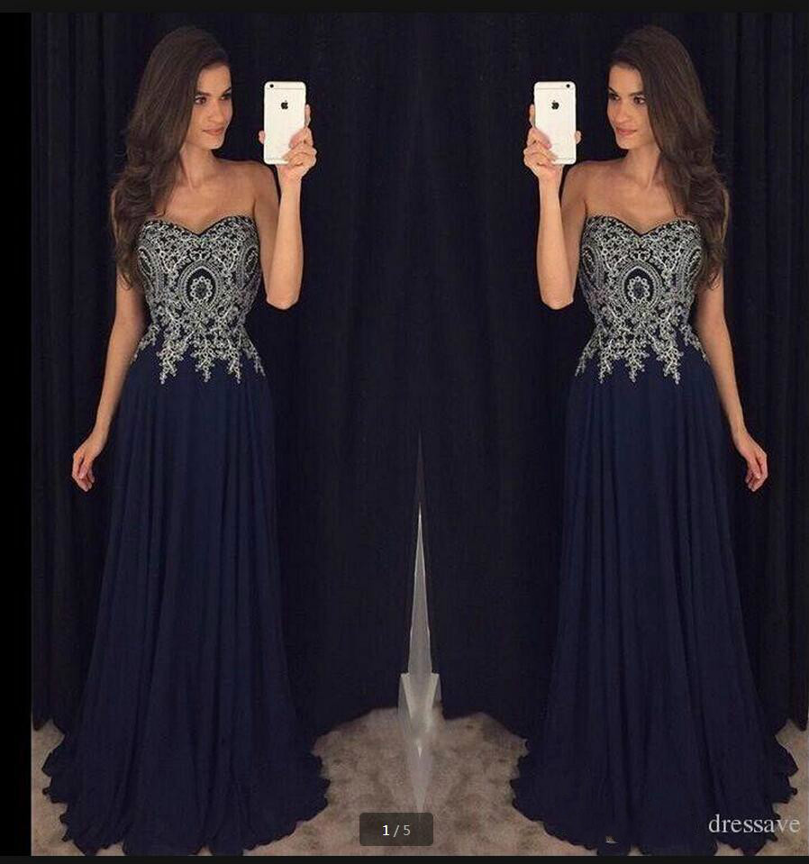 2016 Gorgeous Chiffon Navy Blue Lace Appliques Evening Dress Strapless Sweetheart Neck Formal Evening Gowns Best Selling