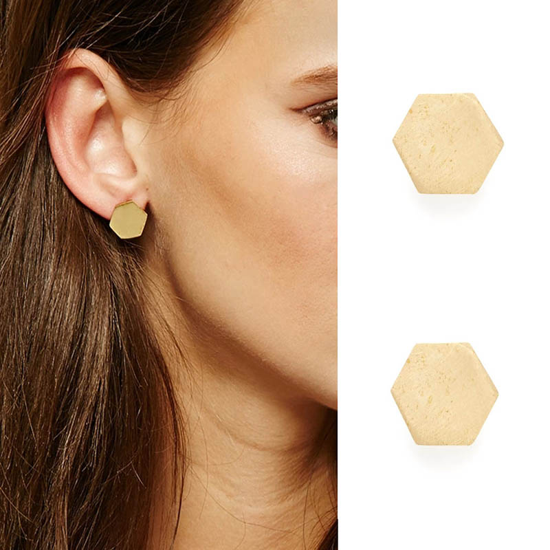 Newest  fashion jewelry accessories  gold plated small luck hexagon geometry stud earring for  for couple lovers' wholesale E271