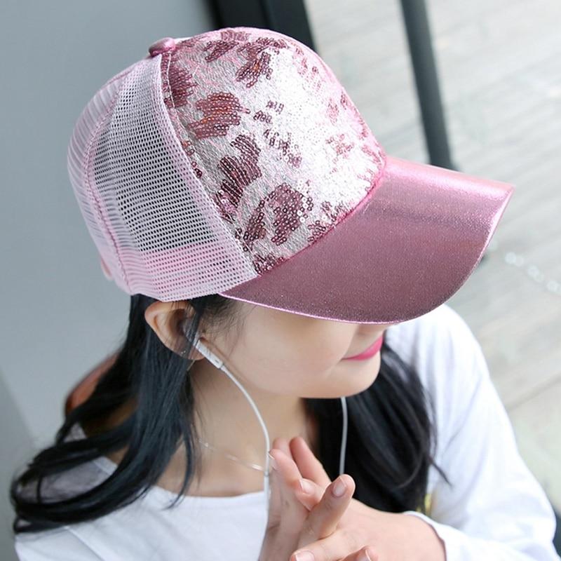 Casual Hats For Women Sequins Flashes Trucker Hip Hop Cap Girl s Breathable Mesh Hat Summer Baseball Bone Feminino