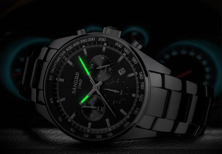 42 мм SANGDO многофункциональный хронограф японский кварцевый механизм черный циферблат Мужские часы Высокое качество Новая мода кварцевые ча... - 6