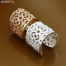 2Pcs Charm Zircon Heart Ring 925 Sterling Silver Women Fashion Gold Jewelry