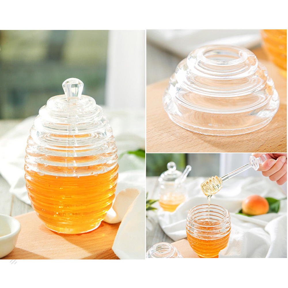 Transparent Beehive-shaped Honey Jar With Dripper Stick For Storing And Dispensing Honey Syrup Kettle 245ml Handsome Appearance Dinnerware