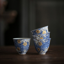 PINNY STARRY NIGHT Color Enamel Teacups Hand Made Ceramic Tea Cup Chinese Kung Fu Set High Quality And Saucer
