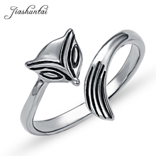 JIASHUNTAI Vintage 100% 925 Sterling Silver Rings For Women Thai Silver FOX Ring For Female Jewelry Punk Best Gifts