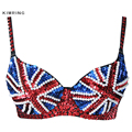 Kimring Sexy Sequins Beads British Flag Bra Nightclub Belly Dancing Bra Push Up Brassiere Punk Rock Bra Clubwear Party Disco