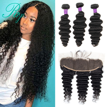 Deep Wave Human Hair 3 Bundles With Lace Closure Frontal Peruvian Hair Weave Bundles With 13×4 Closure Riya Remy Hair