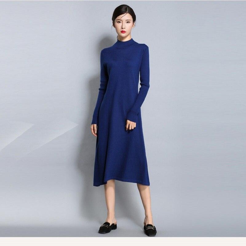 Gran oferta, vestido de mujer de mezcla de Cachemira, vestido tejido de invierno cálido, cuello alto, ropa tejida para mujer, vestido de lana más largo para mujer