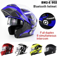 Upgrade 1500m 8-way Full Duplex Built-in BT Headset Full Face Casco Bluetooth Motorcycle Helmet Flip up  Capacetes BM2-E
