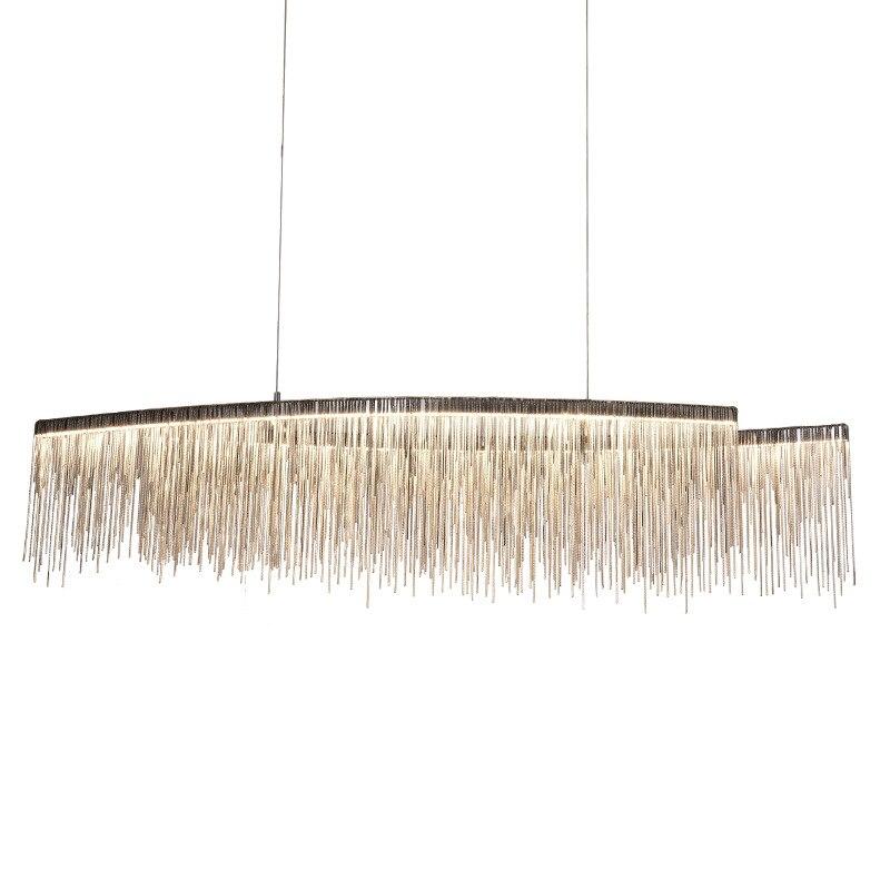 Современные серебро Rosegold двойной головкой алюминия цепи кисточкой кулон лампа Nordic кисточкой Роскошные Дизайнерские цепи подвесные светил
