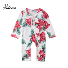 Free Delivery child lady garments ropa bebe new born child garments	Floral Print Flower Jumpsuits Cotton lengthy Sleeve One Items